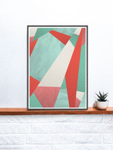 Load image into Gallery viewer, Summer Rain Geometric Texture Print on a shelf