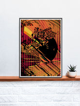 Load image into Gallery viewer, Sunbeam Sunset Abstract Glitch Art in a frame on a shelf