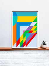 Load image into Gallery viewer, Sunday Morning Happy Days Geometric Shape Art in a frame on a shelf