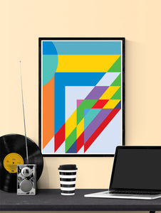 Sunday Morning Happy Days Geometric Shape Art in a frame on a wall