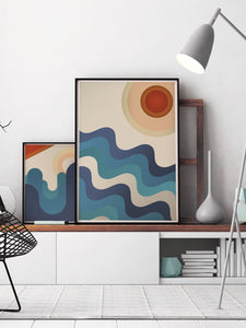 Sunshine Ocean Retro Art Print in a modern room