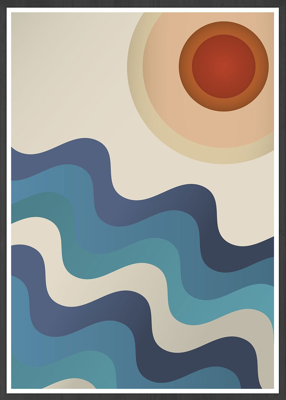 Sunshine Ocean Retro Art Print in a frame