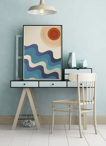 Sunshine Ocean Retro Art Print on a small desk