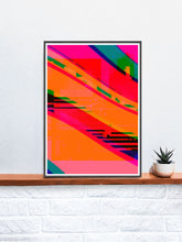 Load image into Gallery viewer, Supernova Abstract Digital Art in a frame on a shelf
