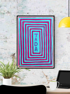 Tada! Unusual Artwork Quirky Print in a frame on a wall