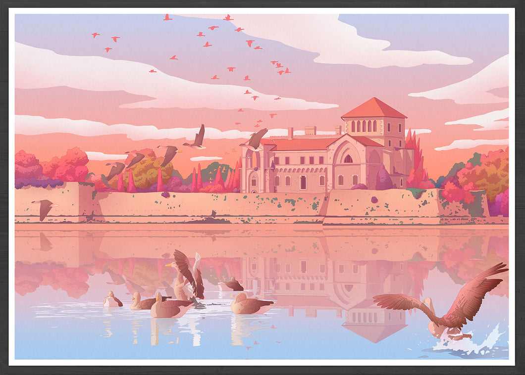 Tata Castle Hungary Landscape Illustration