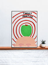 Load image into Gallery viewer, Target Practice Quirky Artist Print on a Shelf