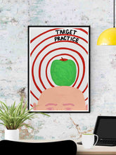 Load image into Gallery viewer, Target Practice Quirky Artist Print in a frame on a wall