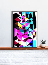 Load image into Gallery viewer, Technicolour Colourful Art Print in a frame on a shelf