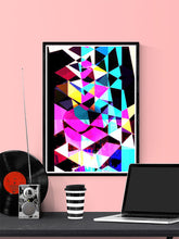Load image into Gallery viewer, Technicolour Colourful Art Print in a frame on a wall
