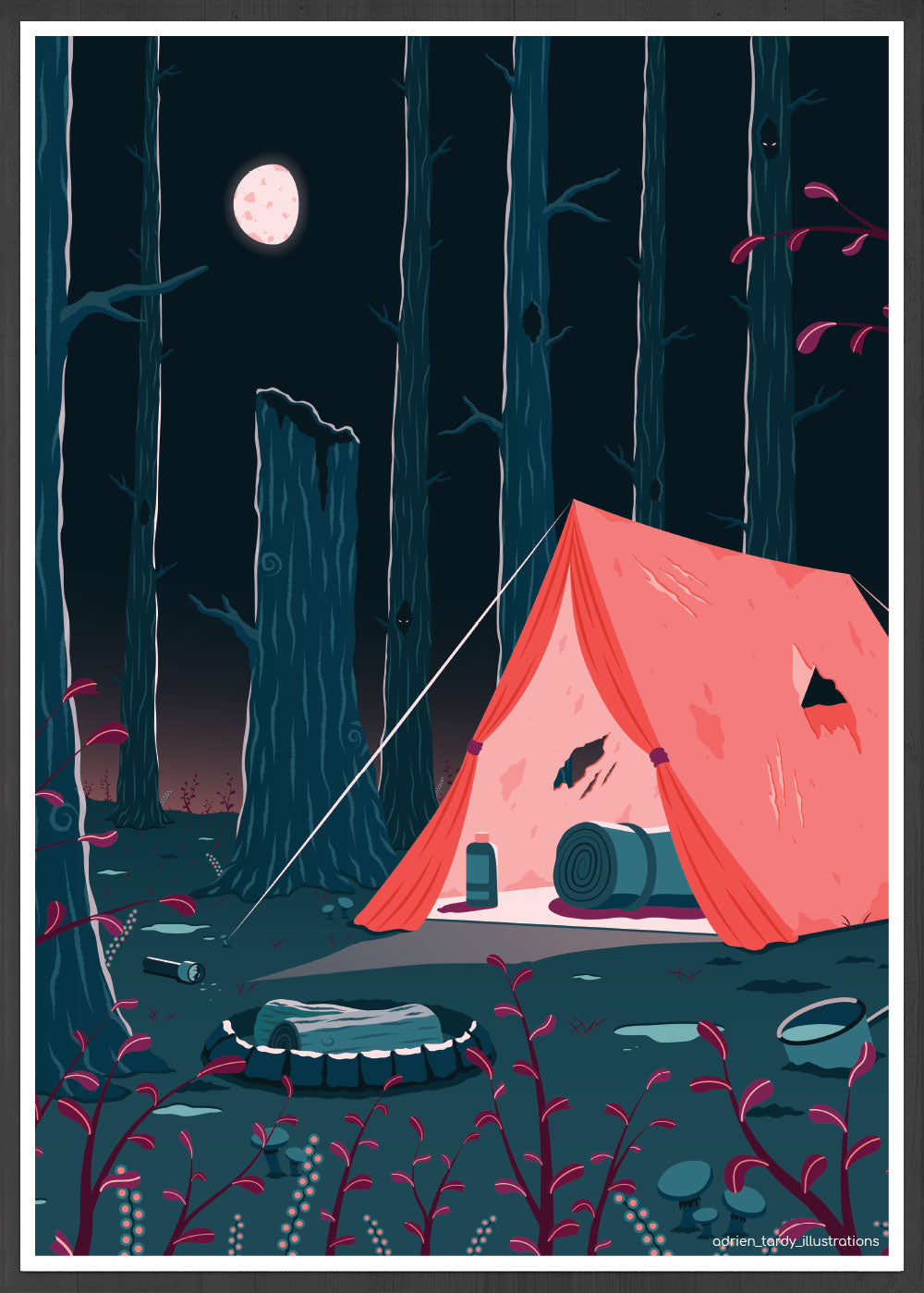 Tent Camping Illustration Print in frame