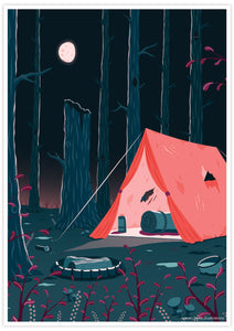 Tent Camping Illustration Print no frame