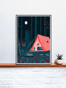 Tent Camping Illustration Print in a frame on a shelf