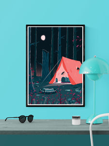 Tent Camping Illustration Print in a frame on a wall