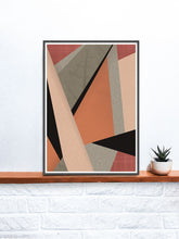 Load image into Gallery viewer, Terracota Tiles Geometric Triangle Print on a shelf