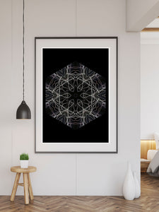 Tesla Pattern Print in a frame on a wall
