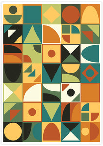 Retro Tone Shapes 70s Wall Poster no frame