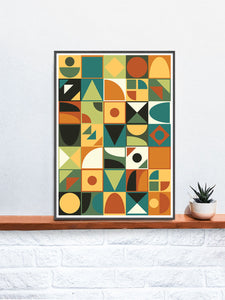 Retro Tone Shapes 70s Wall Poster in a frame on a shelf