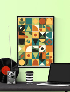 Retro Tone Shapes 70s Wall Poster in a frame on a wall