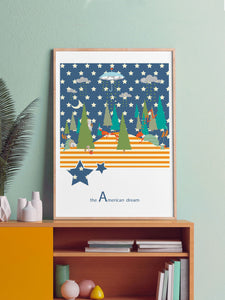 The American Dream Kids Wall Art in a frame on a shelf