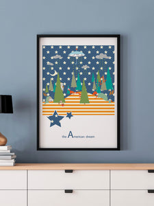 Dotted Line Matrix Retro Art Print in a frame on a wall