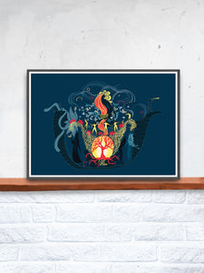 The Arc Illustration Graphic Print in a frame on a shelf