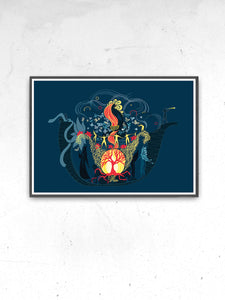 The Arc Illustration Graphic Print in a frame on a wall