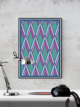 Load image into Gallery viewer, The Candy Stained Glass Graphic Print in a frame on a wall