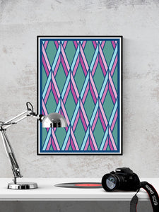 The Candy Stained Glass Graphic Print in a frame on a wall
