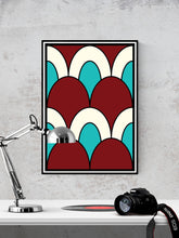 Load image into Gallery viewer, The Cherry Arch Pattern Print in a frame on a wall