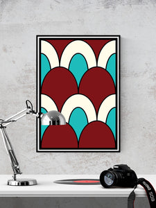 The Cherry Arch Pattern Print in a frame on a wall