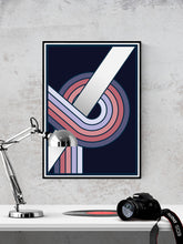 Load image into Gallery viewer, The Fluid 1  Retro Spiral Prints in a frame on a wall