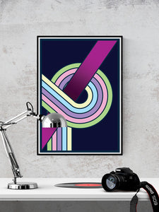 The Fluid 2 Retro Spiral Wall Art in a frame on a wall