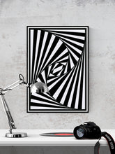 Load image into Gallery viewer, The Hypnosis Trippy Abstract Art in a frame on a wall