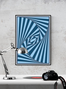The Nightmare Trippy Abstract Art Print in a frame on a wall
