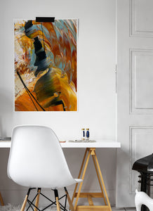 The Play Abstract Art Print on a wall in a modern room setting