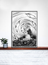 Load image into Gallery viewer, The Thinker Surreal Illustration Print on a Shelf