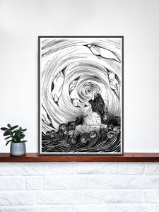 The Thinker Surreal Illustration Print on a Shelf