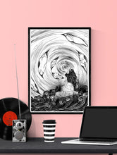 Load image into Gallery viewer, The Thinker Surreal Illustration Print in a frame on a wall