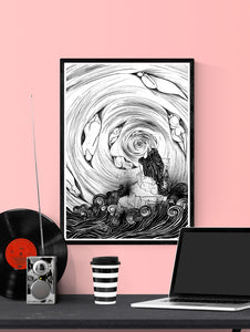 The Thinker Surreal Illustration Print in a frame on a wall
