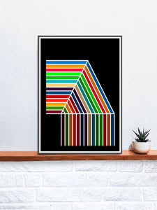 The Waterfall Retro Pattern Print on a Shelf