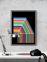 Load image into Gallery viewer, The Waterfall Retro Pattern Print in a frame on a wall