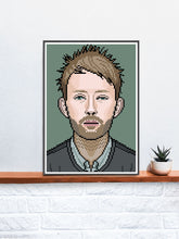 Load image into Gallery viewer, Thom Radiohead Art Illustration in a frame on a shelf