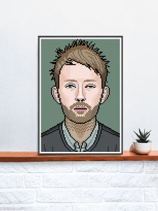 Thom Radiohead Art Illustration in a frame on a shelf