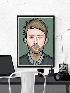 Thom Radiohead Art illustration in a frame on a wall