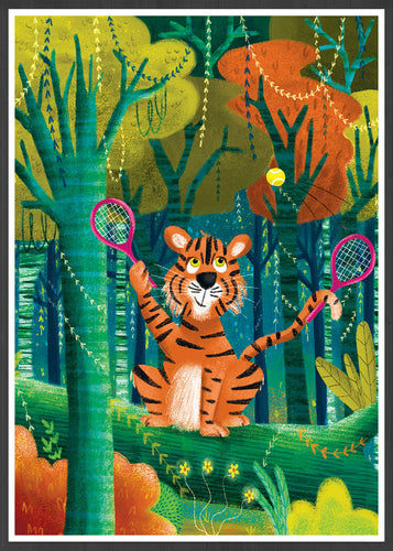Tiger Illustration Wall Art in a frame