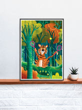 Load image into Gallery viewer, Tiger Illustration Wall Art in a frame on a shelf