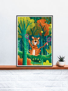 Tiger Illustration Wall Art in a frame on a shelf