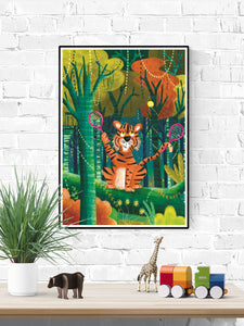 Tiger Illustration Wall Art in a frame on a wall