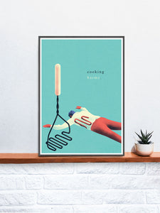 Tluczka Quirky Kitchen Art Print in a frame on a shelf